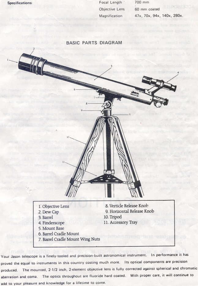 Jason Telescope - Model 311 Manual UNOFFICIAL
