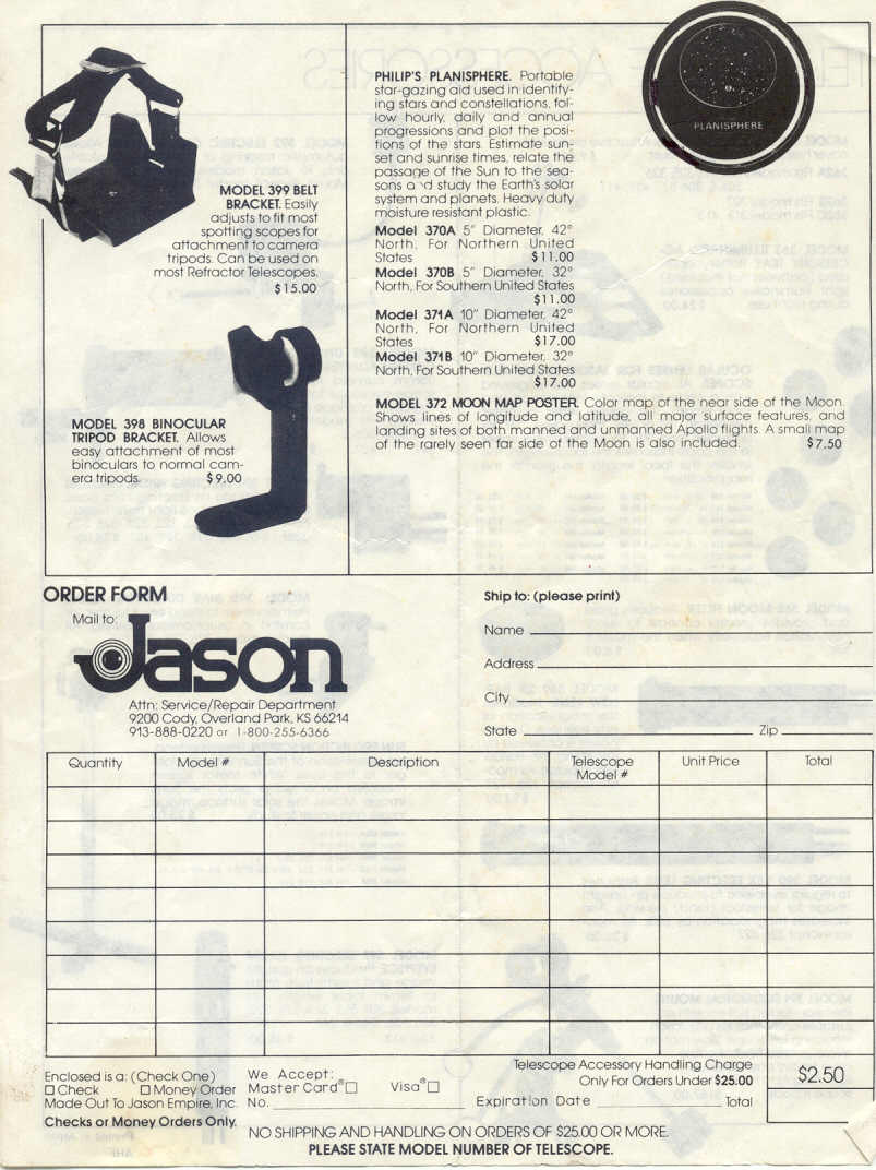 Jason Telescope - Model 311 Manual UNOFFICIAL
